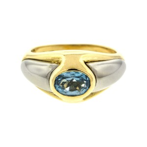 18k Yellow and White Gold Aquamarine Ring