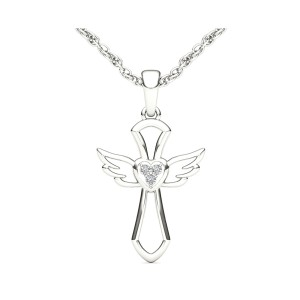 Diamond Accent Angel Necklace in 10K