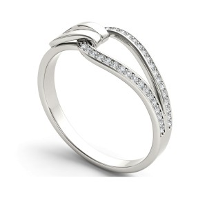 Diamond Accent Buckle Ring in 10K