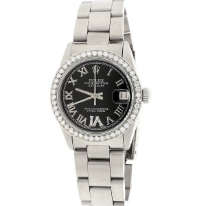 Rolex Datejust Midsize 31MM Automatic Stainless Steel Oyster Watch w/Black Roman Dial & Diamond Bezel