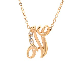 Estate 14k Yellow Gold Letter Initial Diamond Necklace