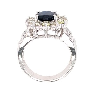 Estate 14k White Gold Sapphire and Diamond Ring