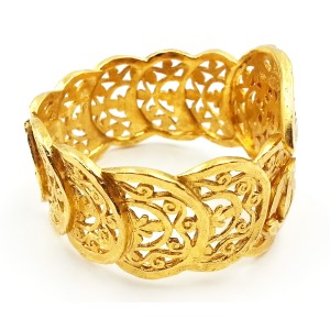 Chanel Gold Plated Metal Paisley Cuff Bracelet