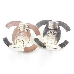 Chanel Silver-Tone Metal & Crystal Turnlock CC Clip-On Earrings