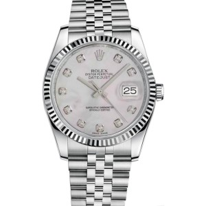 Rolex Datejust Stainless Steel Fluted Bezel & Mother of Pearl Diamond Dial on Jubilee Bracelet Watch