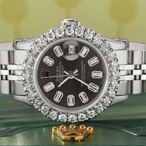 Rolex Datejust Steel 26mm Jubilee Watch 2CT Diamond Bezel / Rhodium Grey Baguette Dial