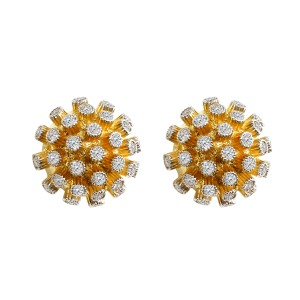 Diamond Half Ball Tops in 18k Gold