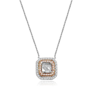 18k White Gold Slice Diamond Natural Pink and White Diamond Pendant Necklace
