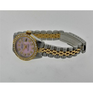 Rolex Datejust 18K Yellow Gold & Steel Two Tone Diamond Womens 26mm Watch