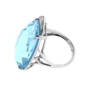 14K White Gold Turquoise Diamond Fashion Cocktail Ring
