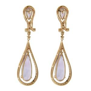 14 Rose Gold Amethyst Diamond Fashion Earrings