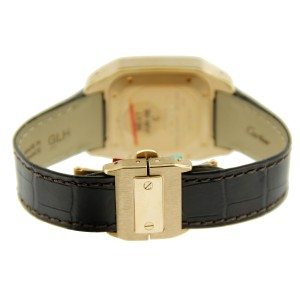 Cartier Santos 18K RG Chocolate Strap 34mm Watch