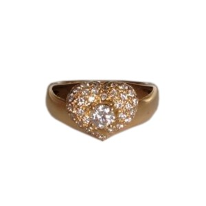 Van Cleef & Arpels YG Pave Diamond Heart Ring
