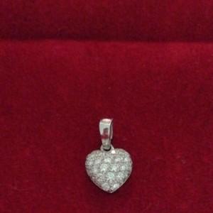 Cartier Pave Diamond 18k White Gold Heart Pendant