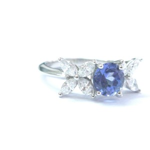 Tiffany & Co. PT950 Platinum with 0.91ct Diamond and 1.35ct Tanzanite Ring Size 7.75