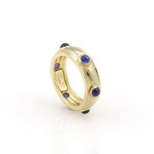 Tiffany & Co. Italy 18K Yellow Gold Sapphire Cabochon Eternity Band