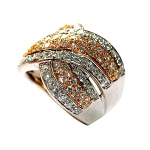 18K White & Rose Gold Diamond Crossover Ring