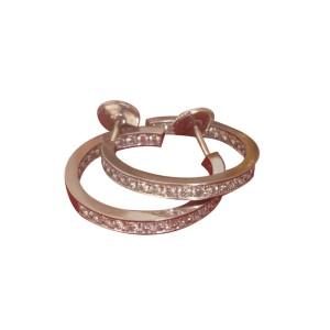 Cartier Inside Out 18K White Gold Diamond Hoop Earrings