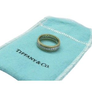 Tiffany & Co. 950 Platinum & 18K Yellow Gold 0.64ct Diamond Wedding Band Ring Size 5