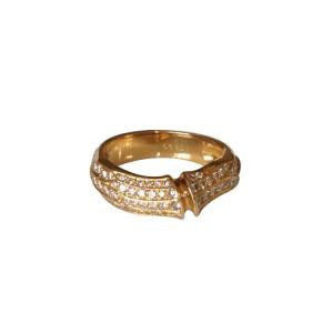 Cartier Pave Diamond 18K Yellow Gold Bamboo Ring