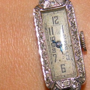 Platinum and Diamond Waltham Vintage Watch 14K White Gold Band