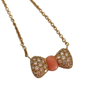 Van Cleef & Arpels Diamond Coral Bow Necklace
