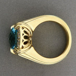 Charles Krypell 18K Yellow Gold 6.20ct Blue Topaz & 0.30ct Diamond Vintage Ring Size 7