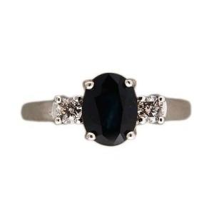 14K White Gold 1.55ct Royal Oval Sapphire & 0.20ct Diamond Ring Size 6.25