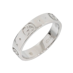 Gucci 18K White Gold Icon Band Ring Size 5.25