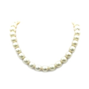 Freshwater Cultured Pearl Necklace In 18 Karat White Gold And Diamonds