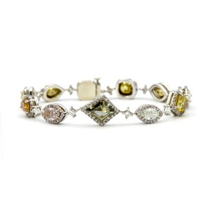 14k White Gold Bracelet With 9.15 Carats Of Natural Multi Fancy Color Diamonds
