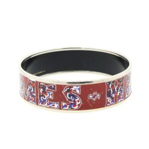 Hermes Red Enamel Hermes Logo Bracelet