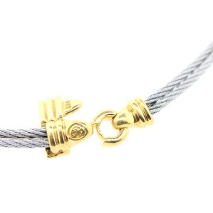 Philippe Charriol Steel and 18K Yellow Gold Diamond Cable Necklace