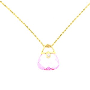 Yellow Gold Simulated Pink Sapphire and Diamond Purse Necklace