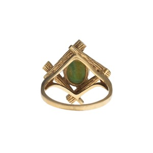14K Yellow Gold Oval Jade Ring