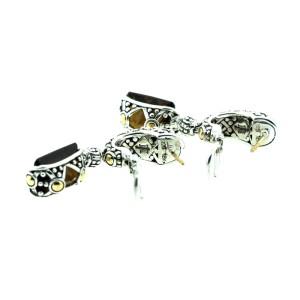 John Hardy 18K Yellow Gold and Sterling Silver Smokey Topaz Earrings