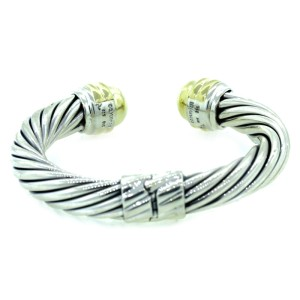David Yurman Sterling Silver and 14K Yellow Gold Bangle Bracelet