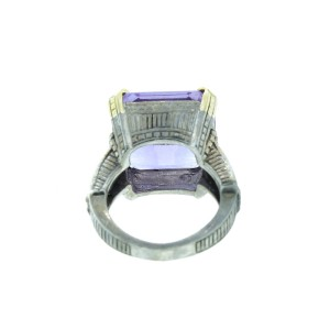 Judith Ripka Faceted Amethyst  Square Stone & Sterling Silver Ring