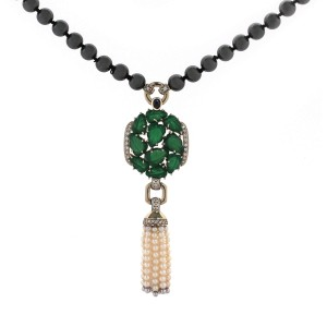 Cartier 18 Karat Gold Necklace With Hematite, Cultured Pearls, Sapphire And Diamonds