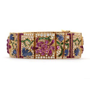 Mutli Gem Yellow Gold Bracelet With Diamonds, And Sapphires In A Flower Design