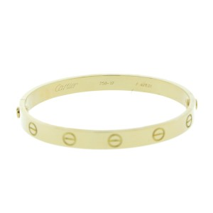 Cartier Yellow Gold Love Bangle Bracelet Size 17