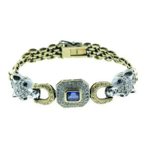 14K Yellow & White Gold Tanzanite, Sapphire and Diamond Bracelet