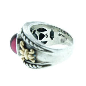 14K Yellow Gold & Sterling Silver Ruby Ring