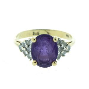 14K Yellow Gold Amethyst & Diamond Ring