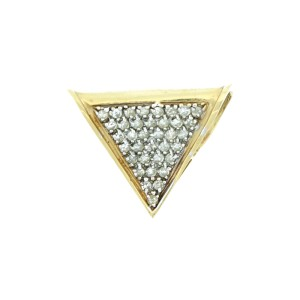 14K Yellow Gold and Diamond Triangle Pendant