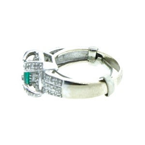 14K White Gold Emerald And Diamond Ring
