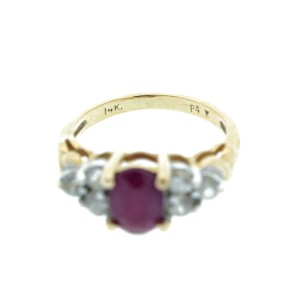 14K Yellow Gold Ruby & Diamond Ring