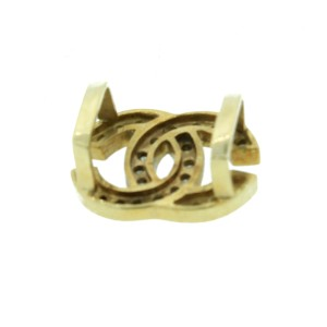 14K Yellow Gold And Diamond Chanel Style Pendant