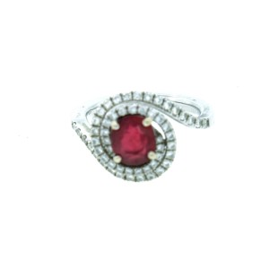 18K White gold Diamond and Red Spinel Ring