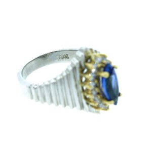 18K White Gold Marquise Blue Sapphire And Diamond Ring
